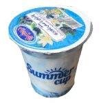 بستنی لیوانی دومینو وانیلی با سس بلوبری
